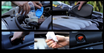 Car maintenance being conducted