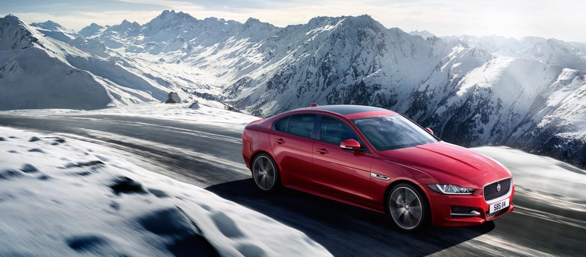 Jaguar driving in the snow